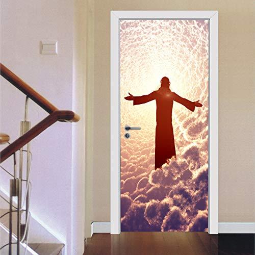 fenjinsheng Vintage Y Clásico Jesús Religioso En La Nube Pegatinas De La Puerta De La Sala Etiqueta De La Puerta Decoración Accesorios para El Hogar