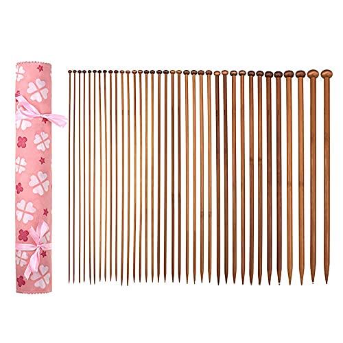 kuou 36 Pcs Bamboo Knitting Needle Sets, Round Head Knitting Needle with...