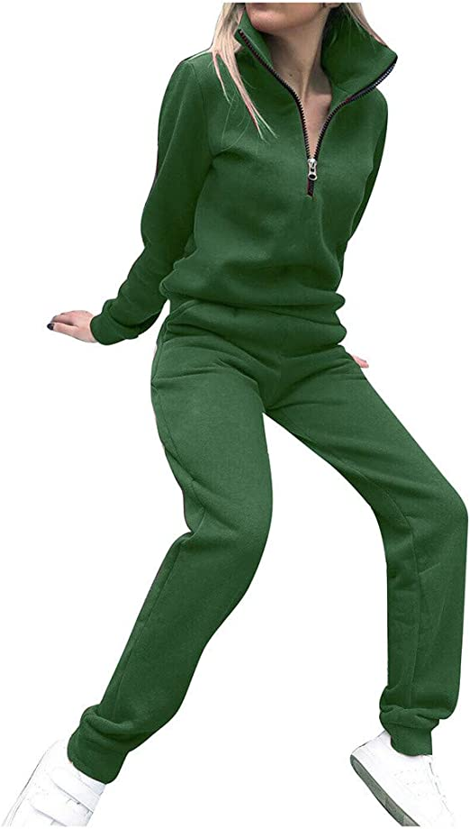 Women Casual 2 Piece Outfits Pullover Long Sleeve Sport Jogger Sweatsuit Set Solid Long Pants Tracksuit