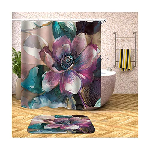 Anwaz Duschvorhang & Badezimmerteppich Set Waschbar aus Polyester Blumen Muster Design Bad Vorhang Badezimmer Teppich Lila mit 12 Duschvorhangringen für Badewanne - 180x200CM/ 40x60CM
