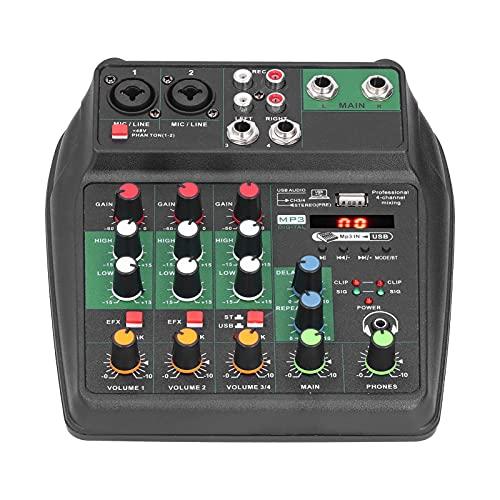 ciciglow Mezclador de Sonido portátil, Mesa de Mezclas de Audio, 4 Canales de conexión, Soporte XLR y Enchufe de 1/4'no balanceado, con Cuerpo de Metal ABS, 4 V máximo, para grabación de Canto en PC