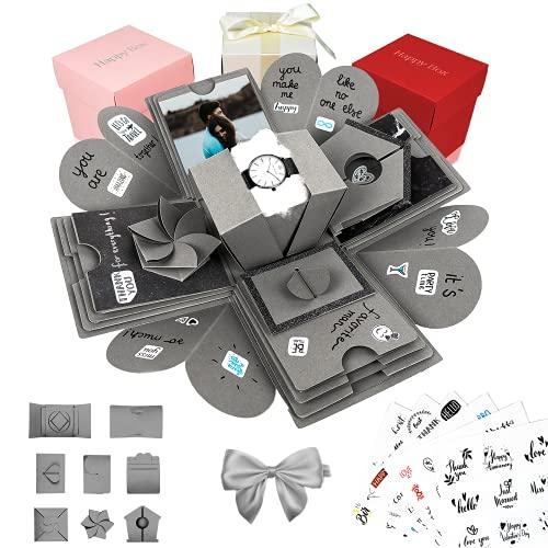 Happy Box Fotoalbum Überraschungsbox in 7 Farben, DIY SET, Explosionsbox, Scrapbook, faltbare Fotobox, Geschenk für Weihnachten,Muttertag,Jahrestag,Geburtstag,Hochzeit,Jubiläum,Valentinstag (Grau)