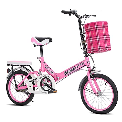 SHANJ Folding Kids Bike for Children Teens,16/20 Inch Boy and Girl Portable Outdoor Road Bicycle,Soft Tail Cruiser Bike,Double Brakes and Back Seat,Cloth Basket