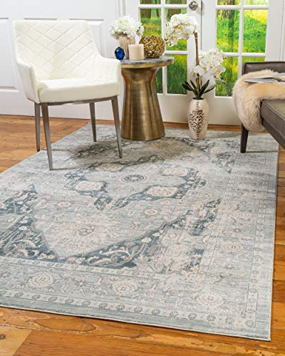 Natural Area Rugs - Vintage Oriental Rug, Sarafina Collection, Polypropylene Rug, Imported from Turkey, Blue 6' x 9'