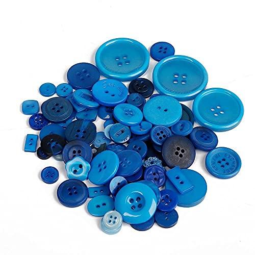 FSHB Resina Botón Azul Oscuro Botones de Costura aleatorios para decoración de Ropa de bebé Hecha a Mano DIY Scrapbooking 50 g (Aproximadamente 50-100 Piezas)