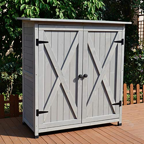 ZHOUAICHENG Outdoor Aufbewahrungsbox Gartenbalkon Möbelschrank Innenhof Aufbewahrungsschrank Werkzeugschuppen Holz Regen und Sonnenschutz,Grau