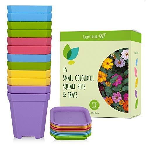 Green Thumbz Piccoli vasi Quadrati, vasi Quadrati per Fiori e piantine, vasi per Decorare Interni ed Esterni, vasi con Vassoio (15 Pezzi) (Multicolor)