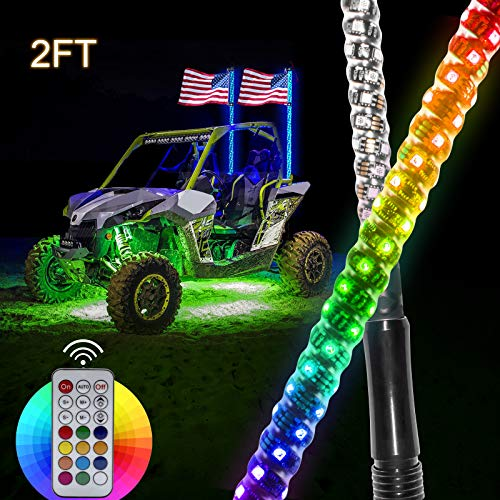 Safego LED Whip Lights for UTV, 2Pcs 2FT Light Whip Remote Controlled 360 Twisted Chasing Color Antenna LED Whips Watreproof Compatible with ATV Polaris RZR Off Road Truck Vehicle Dune 4X4