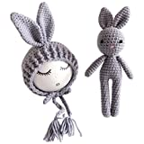 YeahiBaby Newborn Baby Knit Rabbit Bunny Hat Beanie With Rabbit Dolls Photography Photo Prop accessories (Grey)