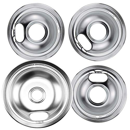 APPLIANCEMATES 4 Pack Electric Stove Burner Drip Pans Kit Chrome (1) 8 In & (3) 6 In Replacement for Whirlpool Range Oven Drip Bowls W10196405 W10196406 W10278125 Ap6016814