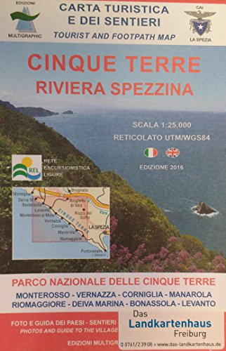 Ligurien Wanderkarte, Karte, Landkarte, Cinque Terre Blatt 506 ehemals 527, Ligurien, 1:25.000, Edition Multigraphic