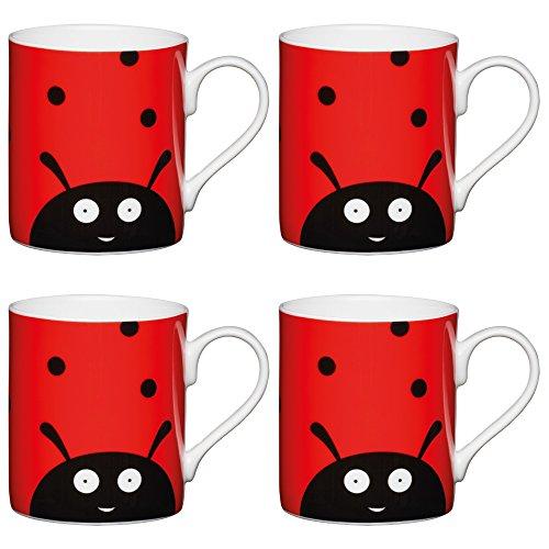KitchenCraft Lot de 4 tasses en porcelaine anglaise pour enfant Rouge 250 ml, Porcelaine, Rouge, 250 ml, Set of 4