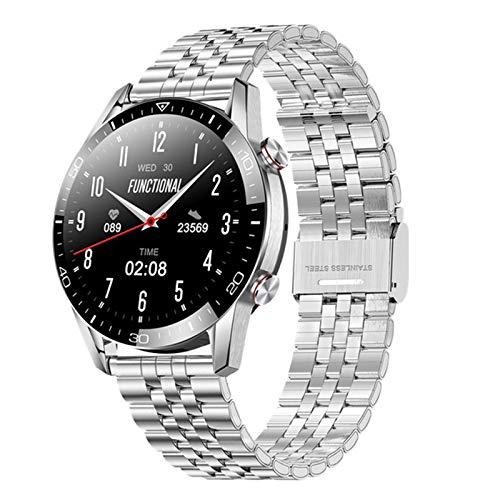 YDK Smart Watch Men's Bluetooth Llamada Bluetooth De 1.3 Pulgadas Pantalla Táctil Completa Ritmo Cardíaco Y Presión Arterial Monitor De Salud Smartwatch (para iOS Android),D