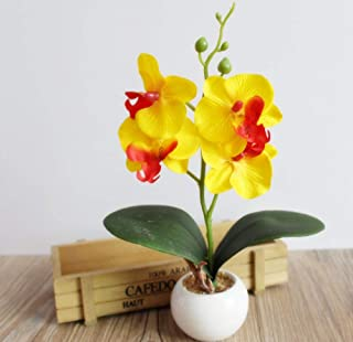 Agoodname Fake Flowers with Vase for Table- Decorative Flower Pots Planters Silk Artificial Flowers with Vase On The Table