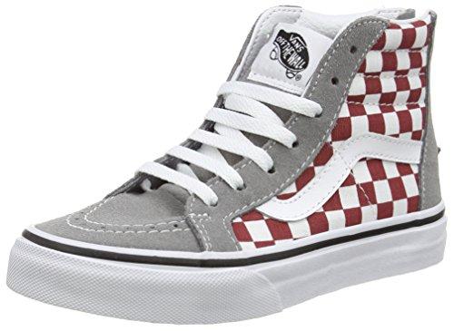 Vans - Sk8-hi Zip, Zapatillas Altas Niños-Niñas, Multicolor (checkerboard/frost Gray/rhubarb), 28 EU