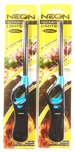 N & T Neon Utility BBQ Stick Lighters 2 Pack
