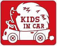 imoninn KIDS in car ステッカー 【マグネットタイプ】 No.37 ハリネズミさん (赤色)