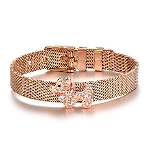 CHEMOXING Zircon Puppy Dog Charm Pulseras y brazaletes de Acero Inoxidable para Mujer Pulsera de Malla con Hebilla Ajustable Joyería de Moda-Rose_Gold