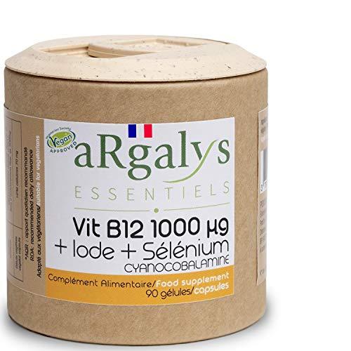 Vitamina B12 1000 µg + Yodo y Selenio | Cianocobalamina | Cura de 45 a 90 semanas | Vegana | Reciclable | 90 cápsulas made in France | Complementos alimenticios | Argalys Essentiels