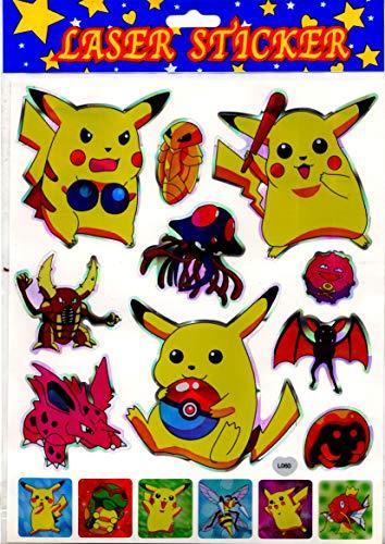 Set 16 laser stickers Pokémon / Pikachu (grootte van 3 tot 10 cm)