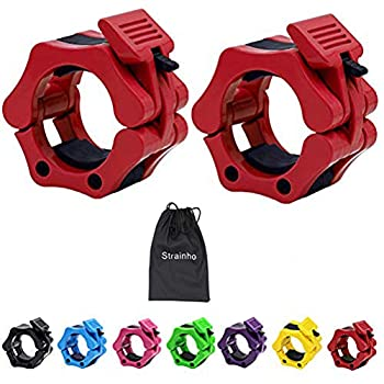 Strainho Quick Release Weight Clamps - Locking 2  Olympic Size Barbell Collars - Bar Clips for Powerlifting Workout and Pro Training - Sold in Pair  Red