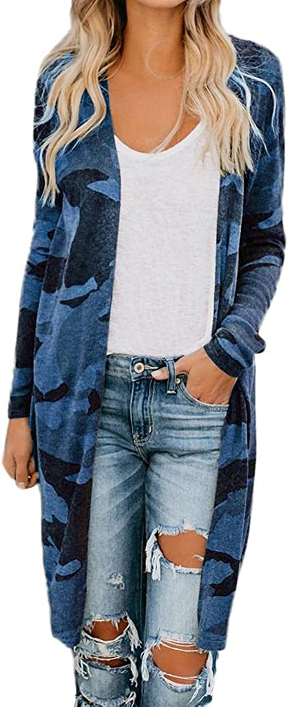 Womens Cardigans Plus Size Cardigan Sweaters Open Front Camouflage Cardigan Lightweight Long Coat Outerwear Sweater Top
