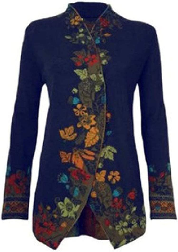 Womens Fall Winter Stand Collar Slim Fit Stylish Floral Print Pea Coat