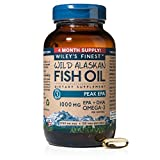 Wiley's Finest Wild Alaskan Fish Oil - 3X Triple Strength Peak EPA DHA, 1000mg Omega-3s, NSF-Certified, 120 Softgels