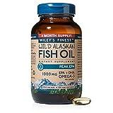 Wiley's Finest Wild Alaskan Fish Oil - 3X Triple Strength Peak EPA™ DHA, 1000mg Omega-3s, NSF-Certified, 120 Softgels