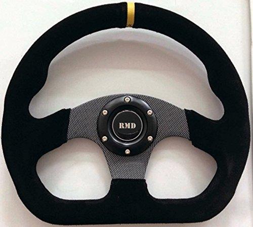 Racing Volante con forma de D, 320mm negro radios, Suede borde, OMP/Sparco 6perno patrón