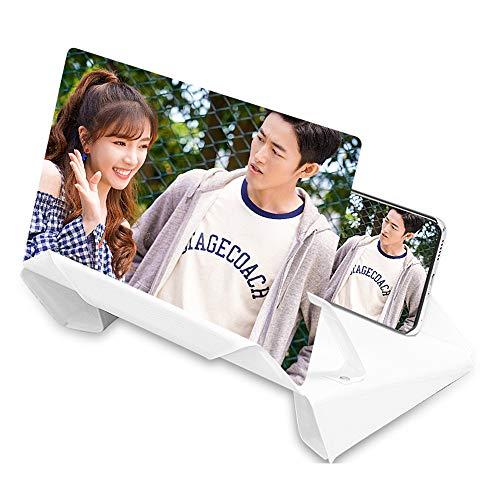 KAIYAN Handy-Bildschirmlupe, Videoverstärker 12 Zoll 3D HD Bildschirm Verstärker, ziehbarer und faltbarer Telefonhalter, Strahlenschutzlupe für alle Smartphones