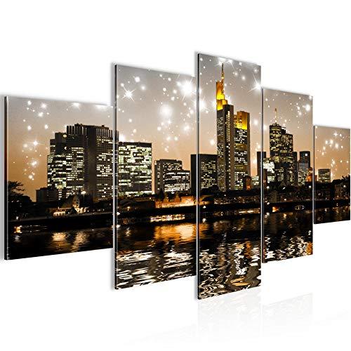 Bilder Frankfurt am Main Stadt Wandbild 200 x 100 cm Vlies - Leinwand Bild XXL Format Wandbilder Wohnzimmer Wohnung Deko Kunstdrucke Braun 5 Teilig - MADE IN GERMANY - Fertig zum Aufhängen 600851c