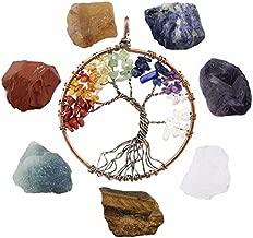 SUNYIK 7 Chakra Stones Set, Natural Rough Raw Crystal Healing Kits,with 7 Chakra Stone Tree of Life Necklace