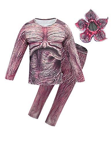 Disfraz Stranger Things para Nios, Demogorgon Halloween Flor Canbal Cosplay Set Adultos Nia Disfraz de Terror Traje con Mscara Stranger Things Costume Monos (Estilo 4,120)