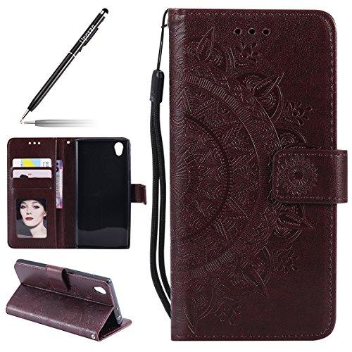 Uposao Kompatibel mit Sony Xperia L1 Handytasche Mandala Blumen Muster Handy Hüllen Flip Case Cover Schutzhülle Ledertasche Wallet Brieftasche Lederhülle Etui Bookstyle Klapphülle,Braun