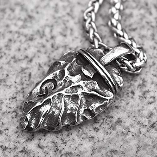 Flecha de Piedra Vintage Flint Spear Colgante, Grabado en Mayúscula G Collar de Acero de Titanio, Cadena de Suéter de Joyería Colgante de Personalidad Hip Hop,Snake Chain