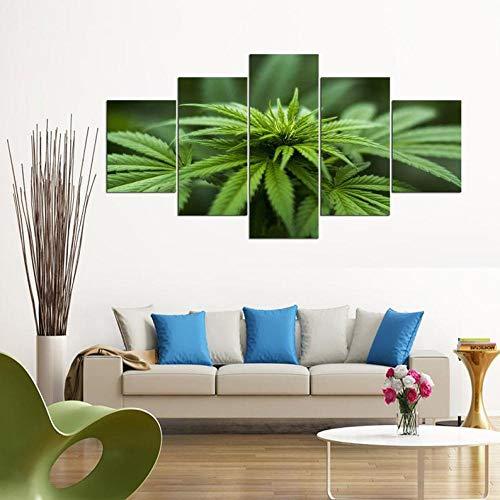 IJNHY 5 Piezas Pintura sobre Lienzo Moderna Granja de Marihuana Cannabis Impresión del Hogar Sala Estar Dormitorio Cuadro sobre Lienzo Listo para Colgar 150 * 80Cm con Marco