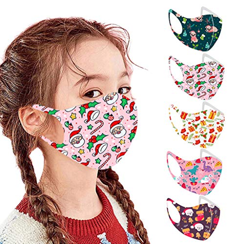 Islandse 5PC Kids 3D Reusable Face Bandanas, Christmas Pattern Ice Silk Face Turban, Breathable/Washable/Dustproof/Elastic Earloop Outdoor (D, 5PC)