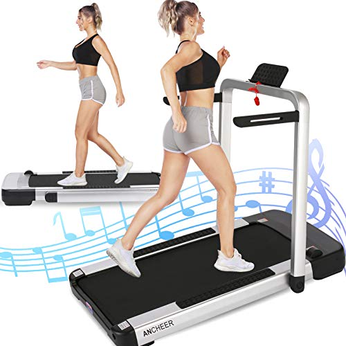 ANCHEER 2-in-1 Folding Treadmill for Home with Remote...