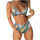 Bikinis vintage para mujer, trajes de baño fruncidos de cintura alta con top corto trajes de baño para mujer de cintura alta trajes de baño de dos piezas bloque de color triángulo trajes de natación