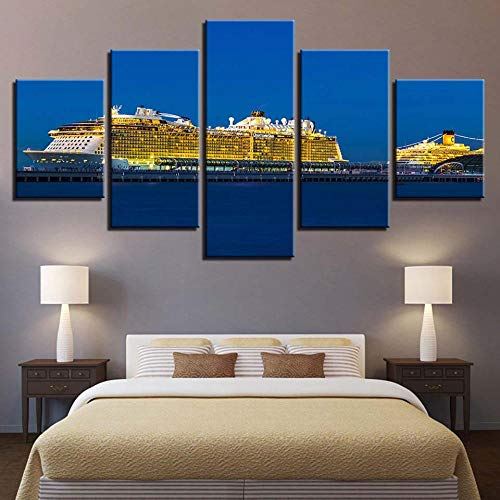 Chuixiaoxiao1 Modern Canvas Prints 5 Piece Wall Art Golden cruise ship Home Decoration Painting Printed on Canvas for Bedroom Living Room Bathroom Office Home Decoration