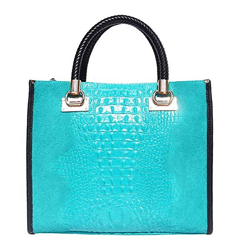 FLORENCE LEATHER MARKET BORSA OPEN IN PELLE STAMPATO A CROCO CON GLI ACCESSORI IN COLORE ORO 7004 (Turchese)