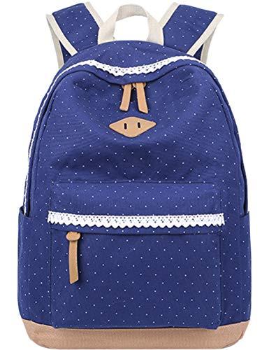 Leichte Schulrucksack mit Polka Dots Nette Canvas Schultaschen Damen Mädchen EXTRA Groß Kinderrucksack Daypacks Rucksäcke Modische mit Laptop Fach 33 * 45 * 17 cm – Little Princess (Blau)