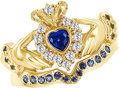AFFY Simulated Blue Sapphire White Natural Diamond Bridal Set Claddagh Ring in 14k Yellow Gold product image