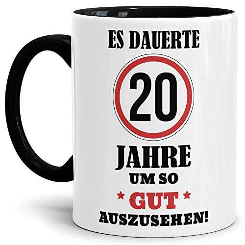 Tassendruck Geburtstags-Tasse Es dauerte 20 Jahre um so gut auszusehen Innen & Henkel Schwarz/Geburtstag/Geschenkidee/Scherzartikel/Lustig/mit Spruch/Witzig/Spaß/Fun/Kaffeetasse/Mug/Cup