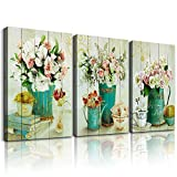 Wood grain Still life flowers Watercolor painting Canvas Wall Art for kitchen 3 piece Wall Decor for dining room bedroom Decorations Canvas Prints Home Decoration for Living Room Poster Artwork