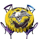 Tattoo Decor Party Round Tablecloth,The Death Angel Crowned Skull with Wide Magnificent Feather Wings Yellow Back and White,Great for Coffee & More D50 inch