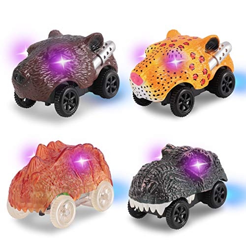 Tracks Cars Replacement Only 4Pack RaceTrack Accessories with 3 Flashing LED Compatible Most Tracks Playset Light Up Magic Toy Animal Shape Cars for RaceTracks Shinning in the Dark best gifts for Kids