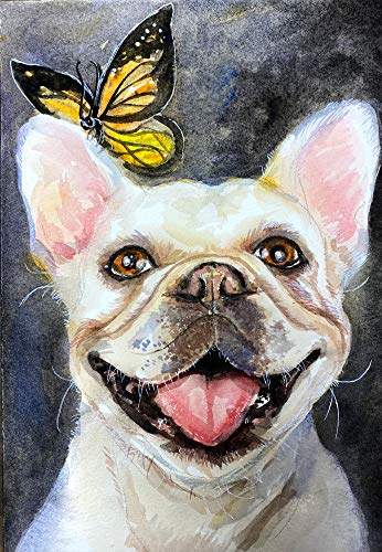 "Mr.lucky Artwork French Bulldog Art Print | Frenchie Gifts | Butterfly French Bulldog | Handmade | 8x10"" and 11x14"" Sizes (8x10'')"
