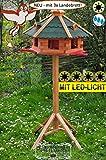Vogelhaus, groß, XL mit Landebahn + LED - Beleuchtung/Licht + Bitumen, Massiv